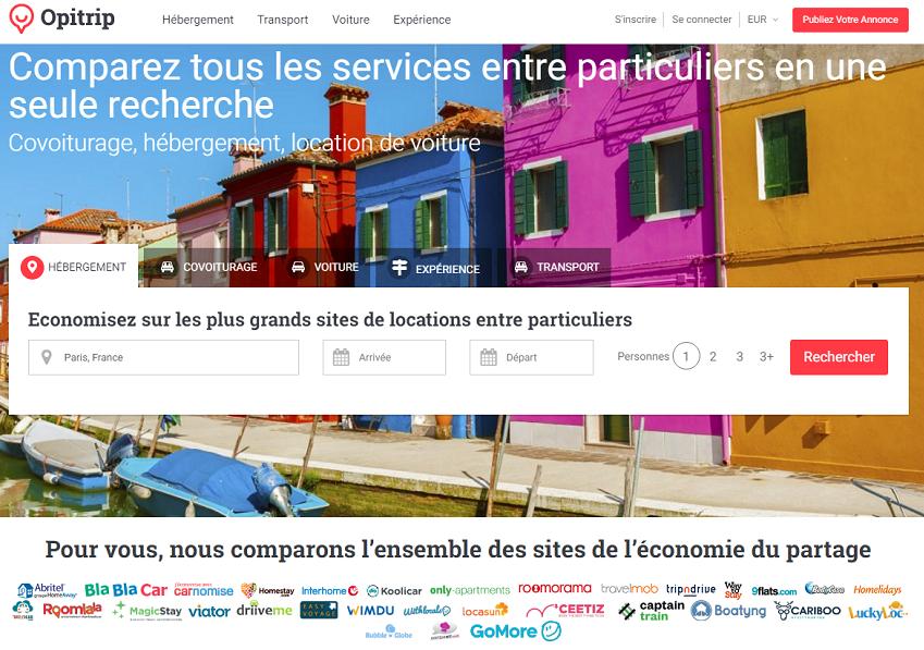 L'objectif d'Opitrip : simplifier la recherche des internautes en regroupant et comparant, sur une seule et même plateforme, l'ensemble des services de tourisme collaboratif (c) Homepage Opitrip.com