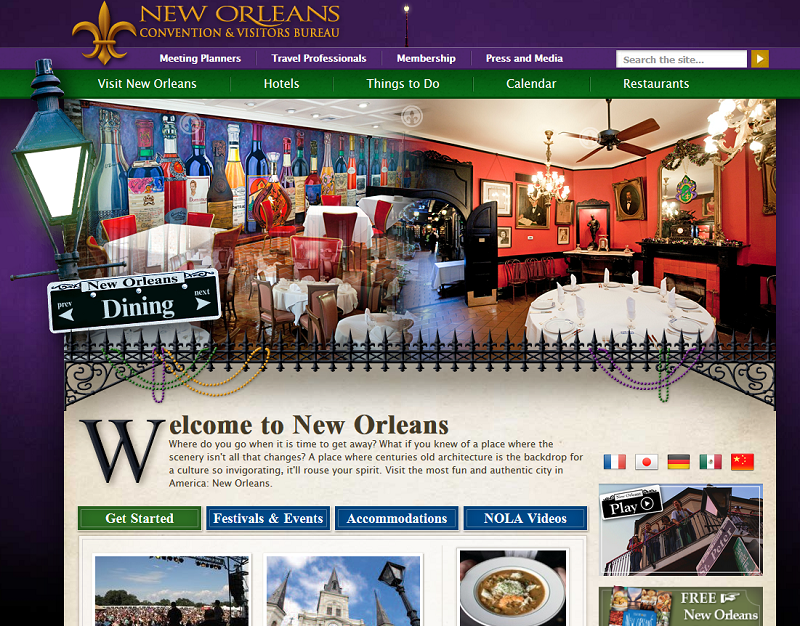 Le site web du New Orleans Convention & Visitors Bureau - DR