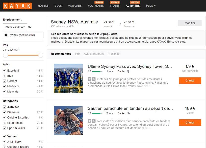 """Kayak propose la fonctionnalité """"Activités"""", exemple d'une recherche d'activités à Sydney (c) Kayak.fr"""
