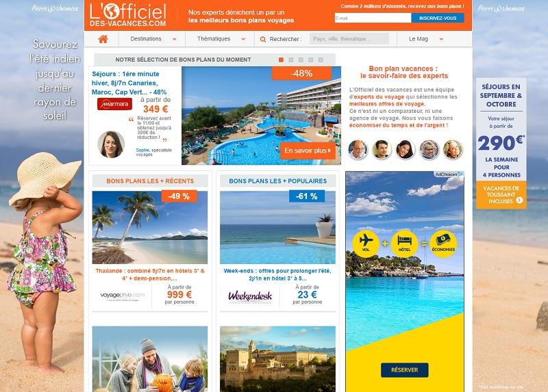 Capture d'écran L'officiel des Vacances