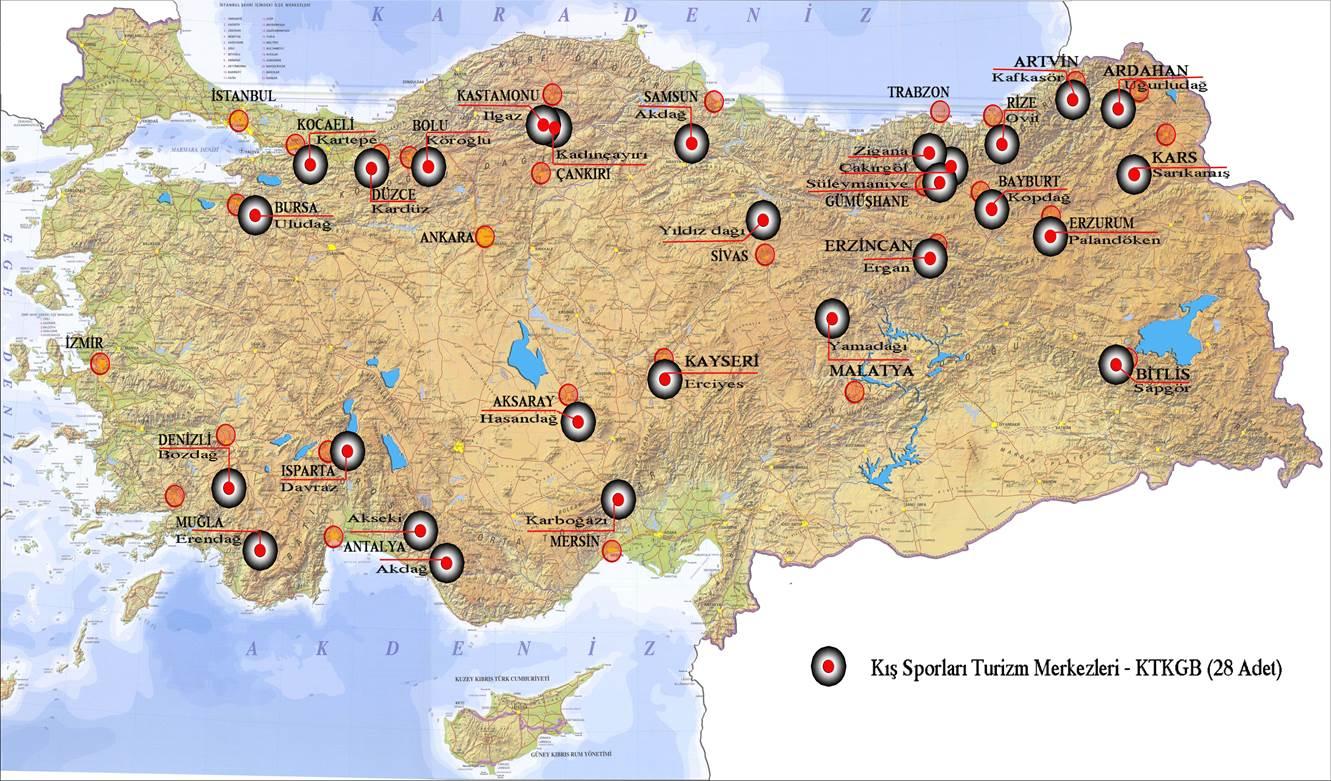Carte des stations de ski de Turquie