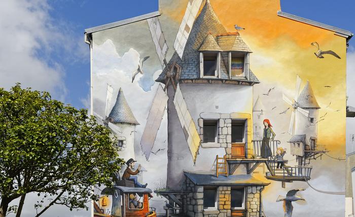 """Les Quatre moulins"" mural by Wen 2, a street artist from Brest"