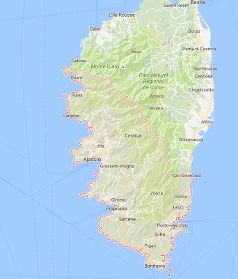 En Corse du Sud, les aéroport d'Ajaccio et de Figari ont connu des évolutions de trafic diverses en août 2016 - DR : Google Maps