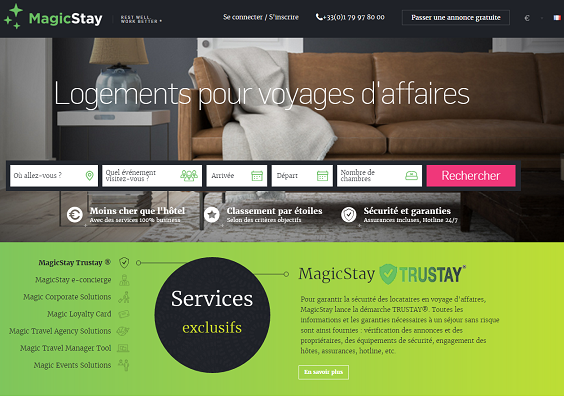Capture d'écran de MagicStay.com