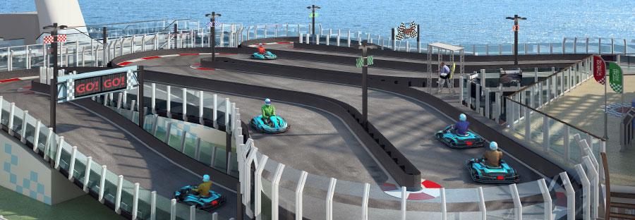 Le futur Norwegian Joy, qui naviguera en Chine, sera équipé d'une piste de karting sur 2 étages - DR : NCL