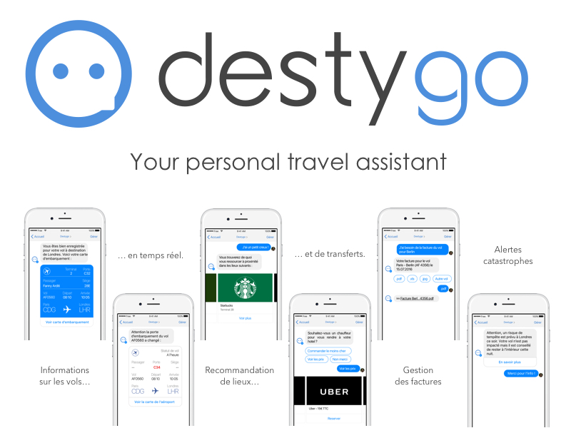 L'outil Destygo prend la forme d'une intelligence artificielle conversationnelle - un ChatBot - pour assister les voyageurs d'affaires dans leurs déplacements - DR : Destygo