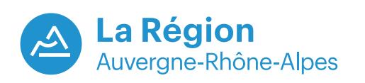 Le nouveau logo de la région Auvergne-Rhône-Alpes symbolise les montagnes des Alpes, les volcans d'Auvergne et le Rhône - DR
