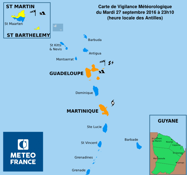 Antilles : vigilance orange en Martinique et en Guadeloupe