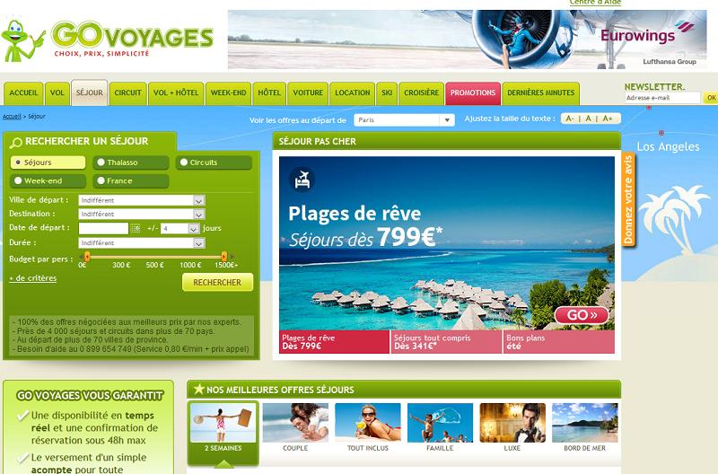 Le site Go Voyages appartient au groupe eDreams Odideo - DR
