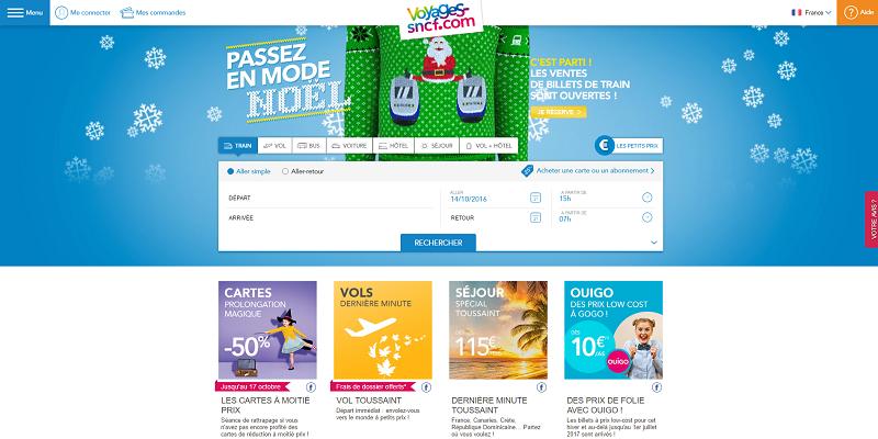 Voyages-SNCF a vendu de très nombreux billets de train pour la période de Noël 2016-2017, jeudi 13 octobre 2016 - Capture d'écran