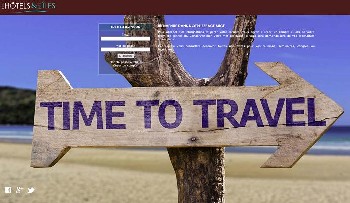 L'espace MICE est hébergé sur le site professionnel de Des Hôtels et des Îles - Capture d'écran