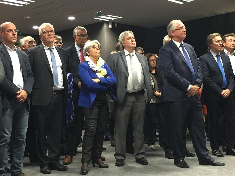 Marie-Lou Marcel, députée de l'Aveyron entourée de Daniel Segonds, président de l'aéroport de Rodez, René-Marc Chikli, président du SETO et Patrick Pourbaix, DG MSC Croisières France - DR : Groupe Verdié