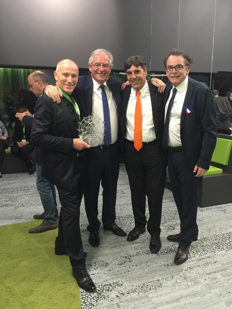 Yves Verdié, avec René-Marc Chikli (SETO), Christian Schmitter (CroisiEurope), Christian Teyssèdre (maire de Rodez) - DR : Groupe Verdié
