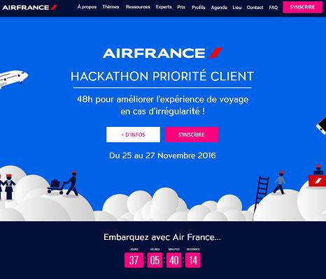 Le Hackathon Priorité Client d'Air France se déroulera du 25 au 27 novembre 2016 - capture d'écran