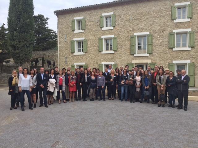 Les équipes du CRT Occitanie réunies autour de Virginie Rozière, sa présidente, au Château L'Hospitalet à Narbonne le 17 octobre 2016 - DR : CRT Occitanie