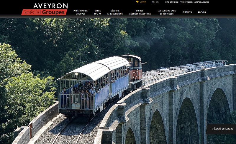 Le nouveau site web dédié au tourisme de groupe du Comité départemental du tourisme d'Aveyron - Capture écran