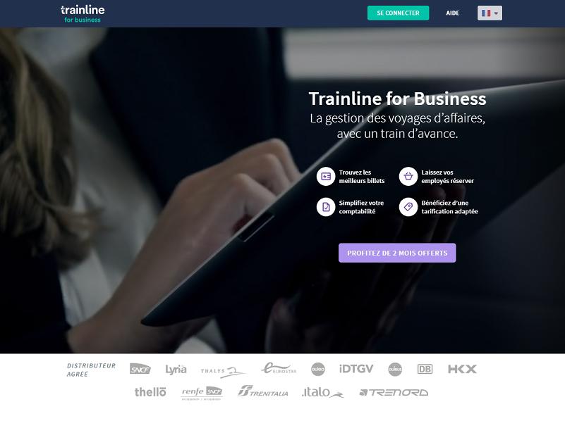 Trainline for Business est l'offre de Trainline dédiée aux entreprises - Capture d'écran