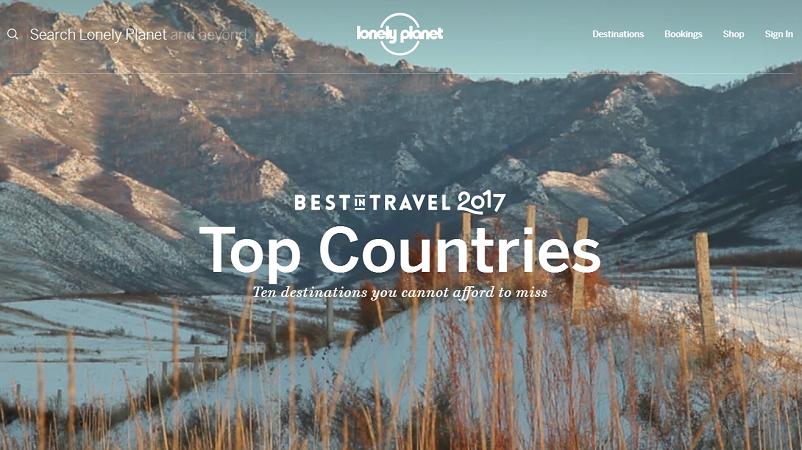 Lonely Planet dévoile le classement des destinations touristiques de 2017 sur son site Internet - Capture d'écran