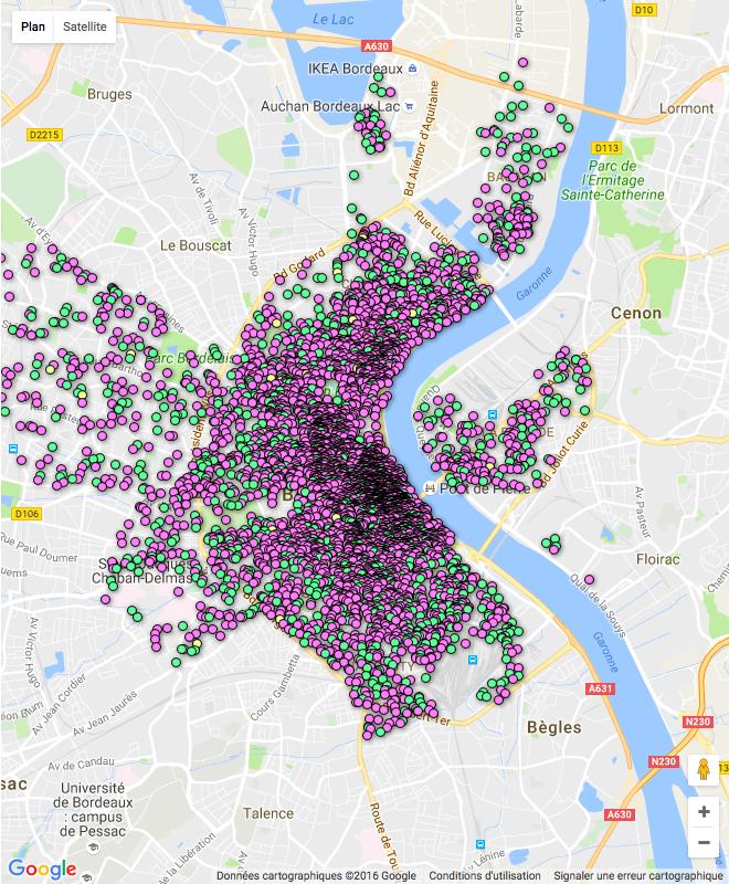 La carte montre les offres Airbnb à Bordeaux (c) Capture d'écran de l'Observatoire Airbnb)