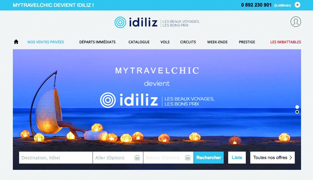 MyTravelChic devient Idiliz et ouvre le site de réservation de vols Ooofly doté d'un algorithme intelligent qui fournit au client « le » bon vol. (capture d'écran)