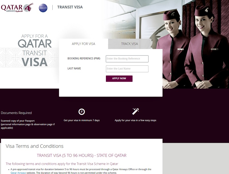 Capture d'écran Qatar Airways