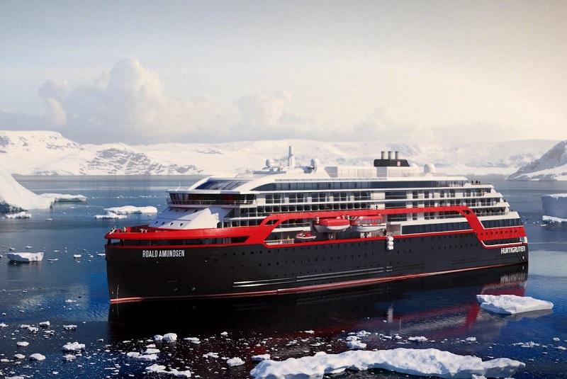 Le MS Roald Amundsen permettra la découverte approfondie des fjords Chiliens et des îles Malouines, ainsi que de l'Antarctique - DR : Hurtigruten