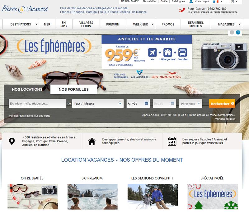 """Pierre & Vacances lance le """"Vol + transfert + hébergement"""" sur son site web : Cette nouvelle offre sera enrichie au fur et à mesure de son déploiement et a vocation à se développer sur l'ensemble des destinations dans lesquelles Pierre & Vacances est présent - Capture écran"""