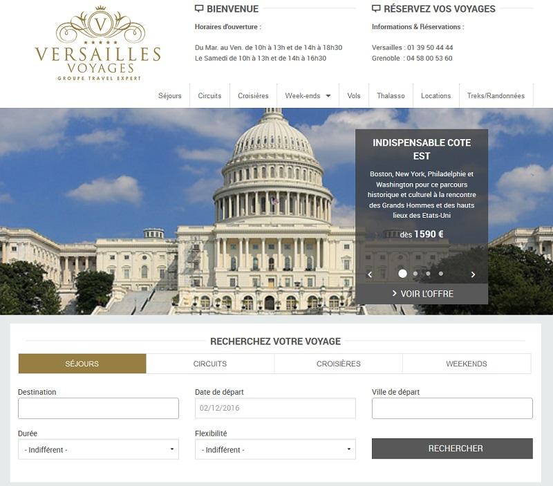 Le site Internet de Versailles Voyages a été refondu en partenariat avec SpeedMedia - Capture écran