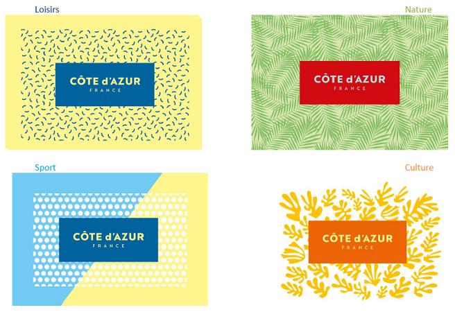 Les différentes déclinaisons du nouveau logo de Côte d'Azur France - DR : Côte d'Azur Tourisme