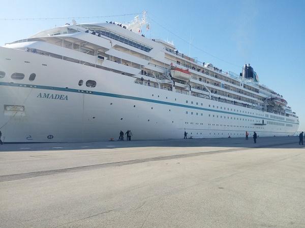 L'Amadea MS est le deuxième navire de croisière à faire escale à la Goulette depuis la reprise des escales de croisières à Tunisi - Photo : Port de la Goulette