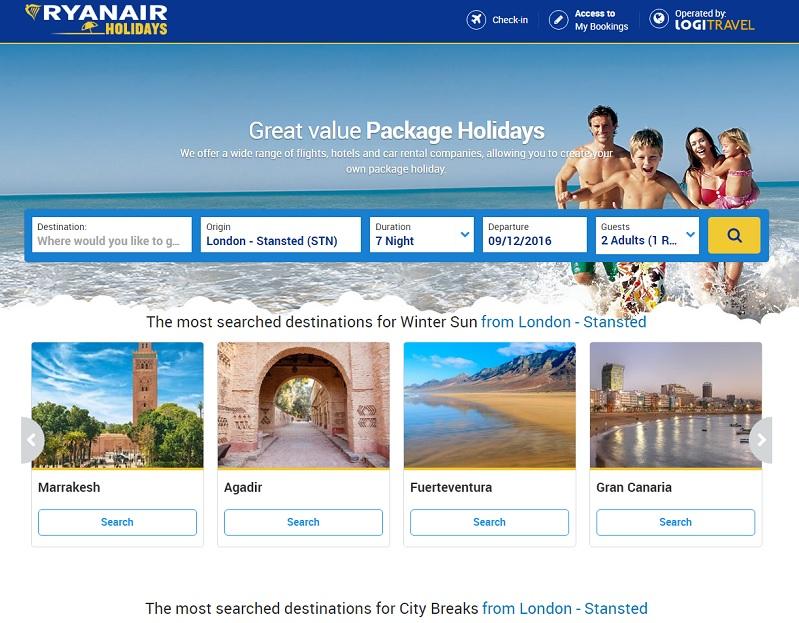 Ryanair Holidays permet la vente de forfaits de vacances, avec vols, hébergement et transferts - DR : Capture d'écran Ryanair Holidays