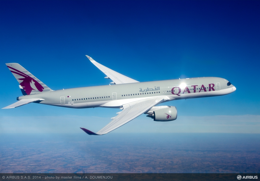 L'Airbus A 350 de Qatar Airways sera positionné à la rentrée entre Paris et Doha. DR Airbus.