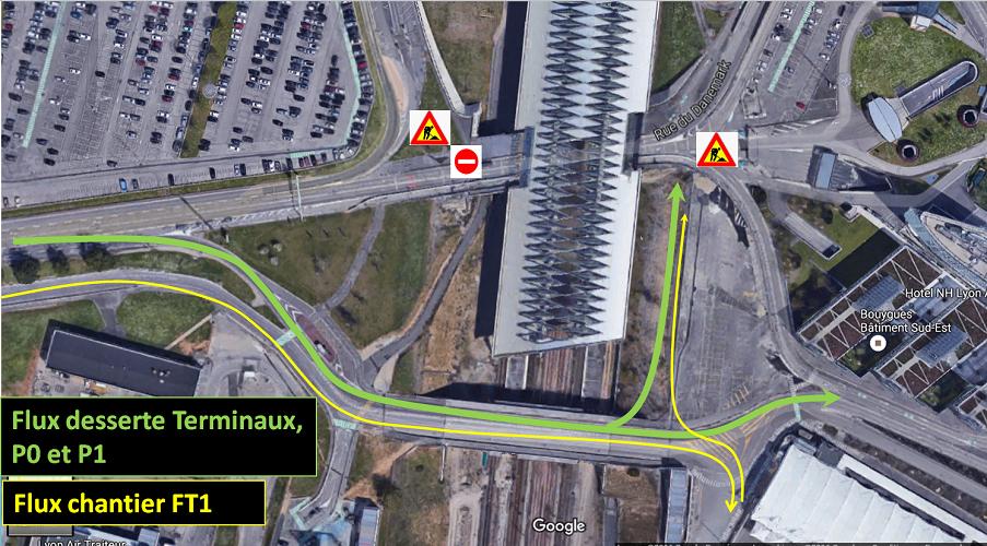 Les seules voies d'accès sont désormais celles passant sur le Pont PR8, appelé dorénavant Pont P3, matérialisées en vert et jaune sur le plan - DR : Aéroports de Lyon