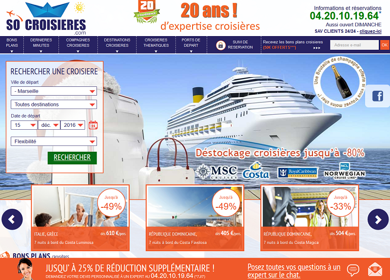 Le nouveau site SoCroisières.com lancé par Patrick Gaudfrin - Capture écran
