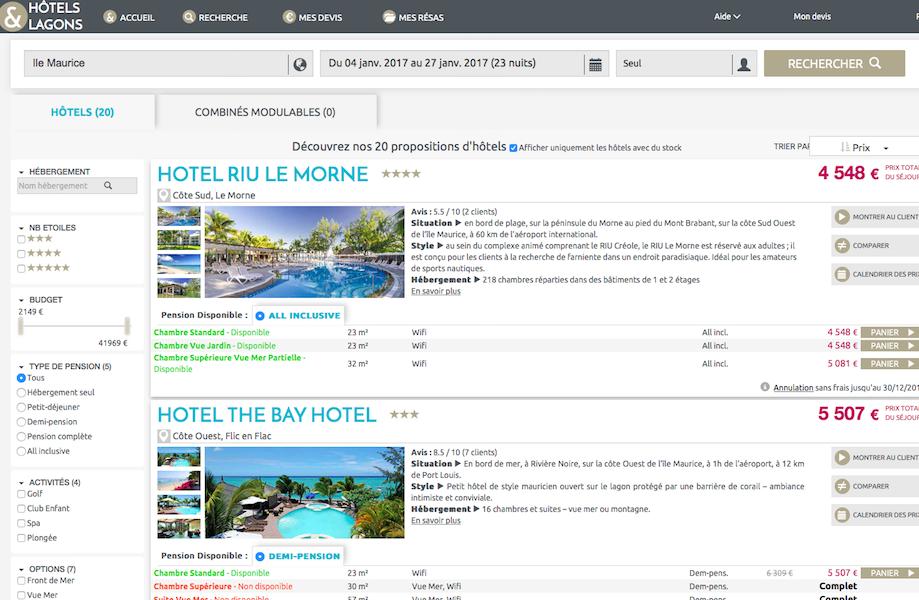 Avec le nouveau site d'Hôtels et Lagons, l'agence va pouvoir immédiatement faire remonter 3 offres d'hôtels avec la comparaison en mètres carrés des tailles des chambres (c) hôtel-lagons.com