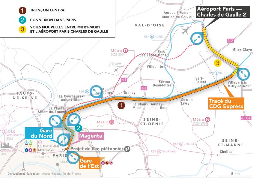 Le tracé du CDG Express qui reliera en 2023 Paris à l'aéroport CDG en 20 mn - DR
