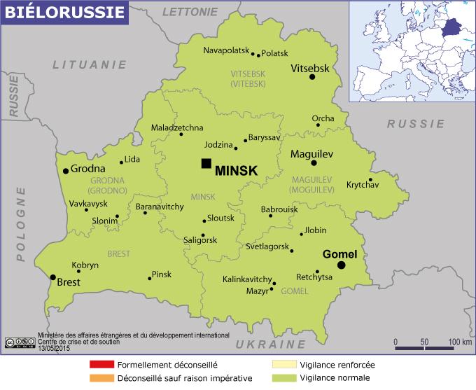 La carte de la Biélorussie publiée par le MAE - Carte MAE