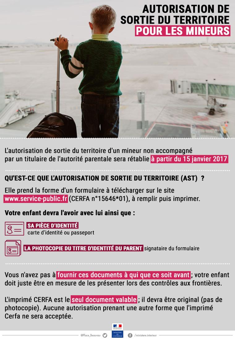 Retour de l'autorisation de sortie du territoire pour les mineurs dès le 15 janvier
