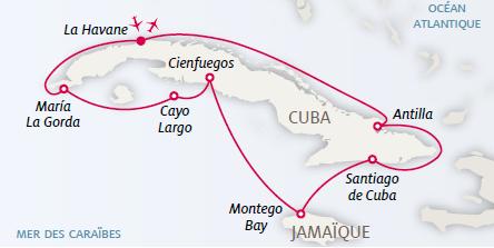 """L'itinéraire de la croisière """"Grand Tour Cubain"""" de Kuoni - DR : Kuoni"""