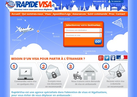 Le site RapideVisa travaille avec plusieurs TO - Capture écran