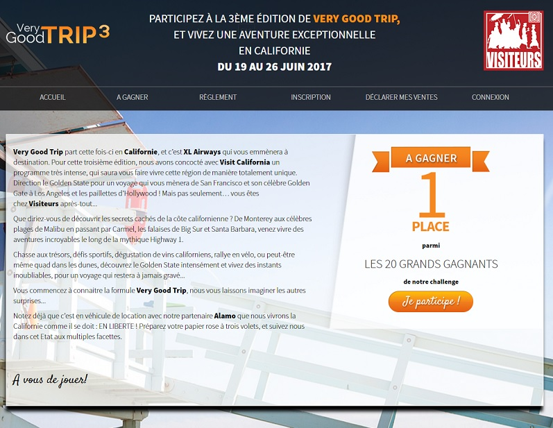 Visiteurs lance son challenge Very Good Trip 3 en Californie