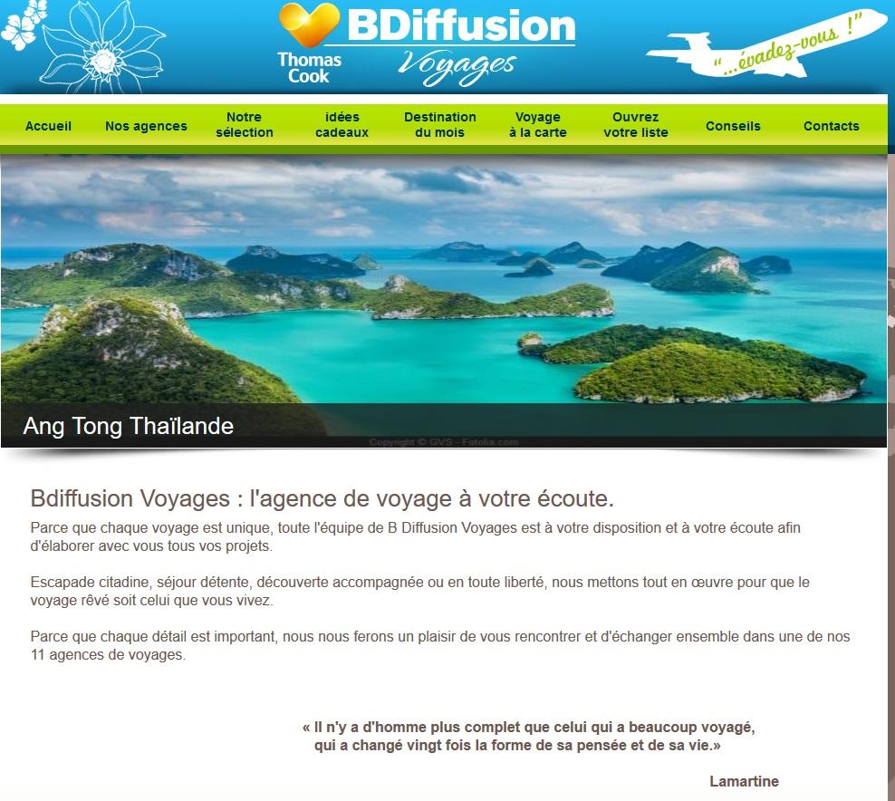 Le site Internet de B Diffusion Voyages - Capture écran