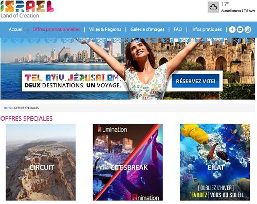 le site web de l'OT d'Israël - Capture écran