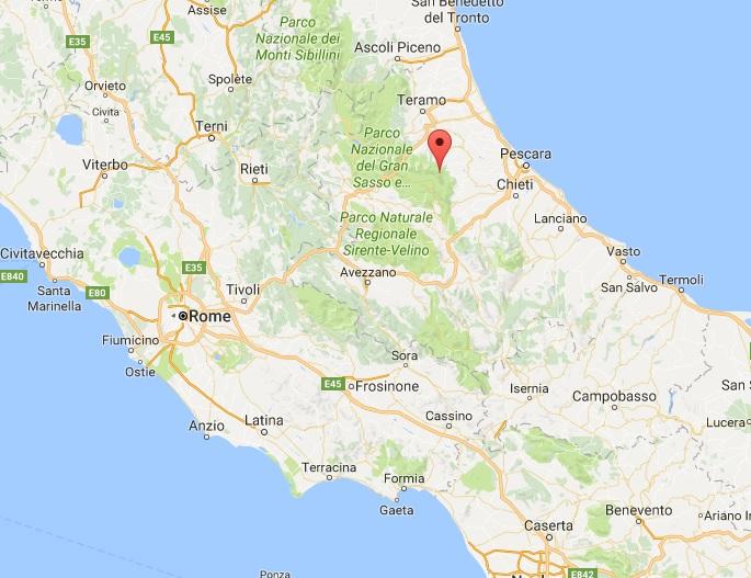 Un hôtel a été enseveli dans une avalanche en Italie à Rigopiano, suite aux séismes et aux répliques survenus mercredi - DR google map