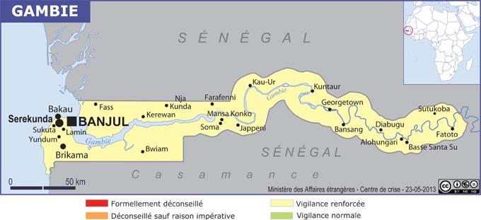 La carte de la Gambie publiée par le Quai d'Orsay - DR : MAEDI