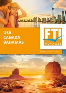 """La couverture de la nouvelle brochure """"USA-Canada-Bahamas"""" de FTI Voyages - DR : FTI Voyages"""