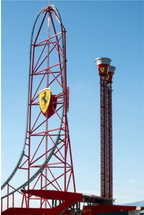 L'Accélérateur Vertical attraction phare du nouveau parc Ferrari Land à Port Aventura - DR