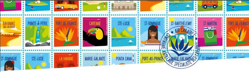 Air Caraïbes fait la promotion de ses destinations des Caraïbes sous la forme de timbres - DR : Air Caraïbes