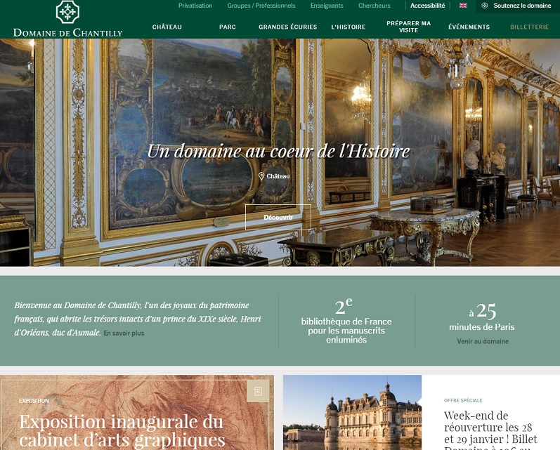DR : Capture d'écran Domaine de Chantilly