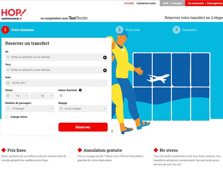 L'offre de transfert en véhicule avec chauffeur est disponible pour les réservations en ligne sur le site Internet de Hop ! - Capture d'écran